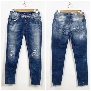 Silver Stone Wash Distressed Raw Edge Jeans